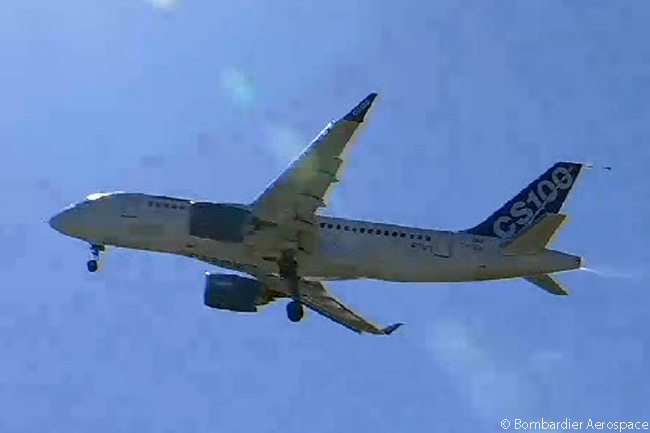 With undercarriage remaining down, as is normal procedure during first flights of new aircraft types, Bombardier CS100 FTV1 climbs away from Mirabel Airport after taking off on the maiden flight of the CSeries family, on September 16, 2013. This still photograph was captured from the official live video feed of the CSeries' maiden flight webcast by  Bombardier Aerospace