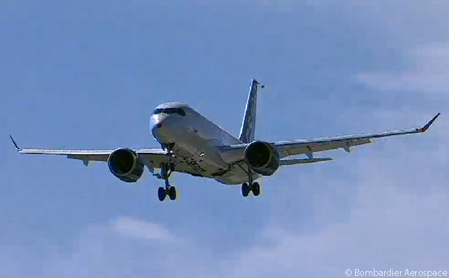 During its first flight, Bombardier CS100 FTV1 approaches for a slow flypast at Mirabel Airport. The flypast came six minutes before the aircraft landed, following a 2 hour 29 minute maiden flight. This still photograph was captured from the official live video feed of FTV1's first flight webcast by Bombardier Aerospace