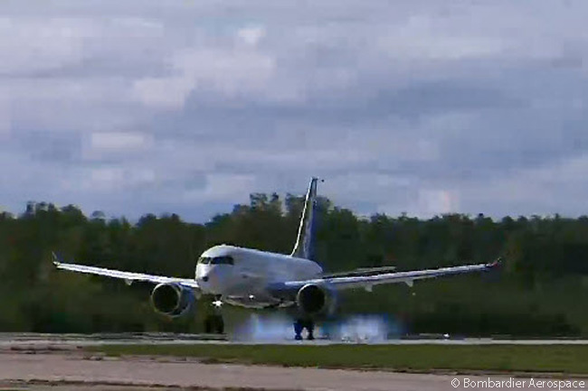 Bombardier CS100 C-FBCS, the first Bombardier CSeries jet to fly, touches down at Mirabel Airport near Montreal safely following a 2 hour 29 minute first flight on September 16, 2013. This still photograph was captured from the official live video feed of FTV1's first flight webcast by Bombardier Aerospace