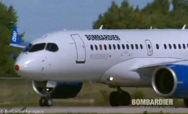 CS100 FTV 1 taxis in towards the Bombardier Aerospace faciities at Mirable Airport after its safe landing following its maiden flight on September 16, 2013. The flight represented the first flight of any Bombardier CSeries jet. This still photograph was captured from the official live video feed of FTV1's first flight webcast by Bombardier Aerospace