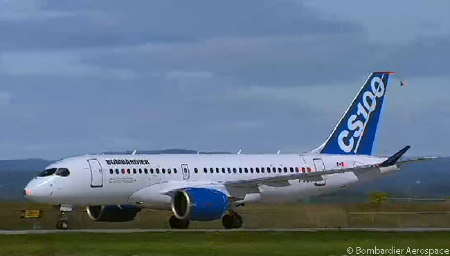 The clean lines of the Bombardier CS100 show off to good effect as the first flight-test CS100 taxis in following its successful maiden flight on September 16, 2013, the first flight of any CSeries jet. This still photograph was captured from the official live video feed of FTV1's first flight webcast by Bombardier Aerospace