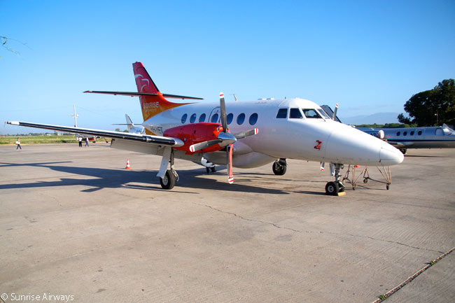 The flagships of Sunrise Airways' fleet are two 19-seat BAe Jetstream 32EP turboprops