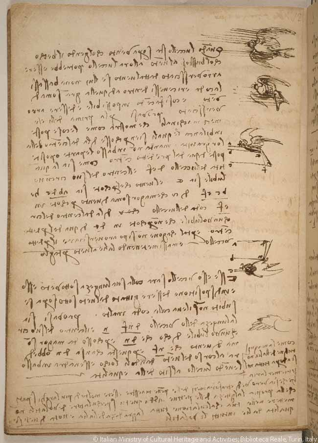In the codex, Leonardo da Vinci also describes how a bird manipulates its wings to maintain balance and control