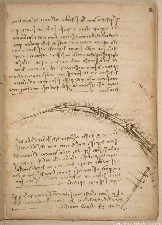 Here, Leonardo da Vinci addresses the importance of lightweight structures in surfaces used for flying and illustrates the structure of a mechanical wing