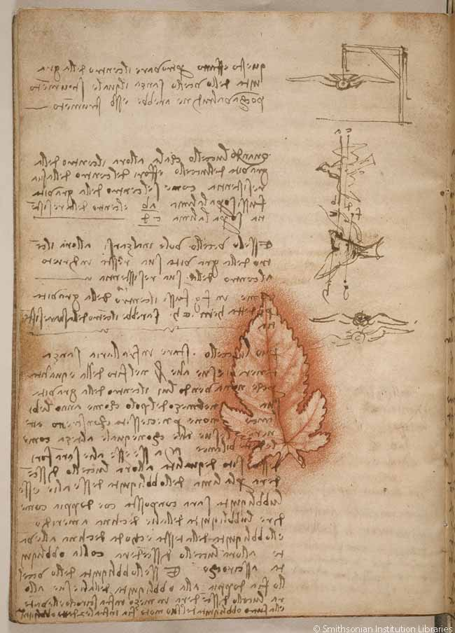 On this page of the codex, Leonardo describes the use of flight testing apparatus to understand aerodynamics. The leaf outline, a previous drawing, shows that Leonardo reused this sheet of paper