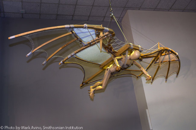 This full-size model of one of Leonardo's ornithopter flying machine designs is based on a drawing in da Vinci Manuscript B, folio 74, Institut de France, Paris. Leonardo likely never actually constructed any of his flying machine designs. The model was built by Opera Laboratori Fiorentini—Civita Group, 2006 and was lent to The Smithsonian's National Air and Space Museum in Washington, D.C. by Finmeccanica North America