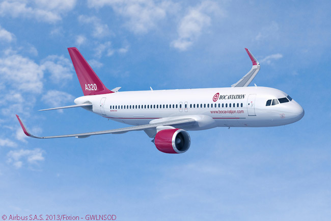 This computer graphic image shows an Airbus A320neo in the house colors of Singapore-based leasing company BOC Aviation, a subsidiary of Bank of China. On September 25, 2013, at the 15th Aviation Expo China in Beijing, BOC Aviation announced an additional firm order for 25 A320-family aircraft to add to 50 it had ordered less than a year previously