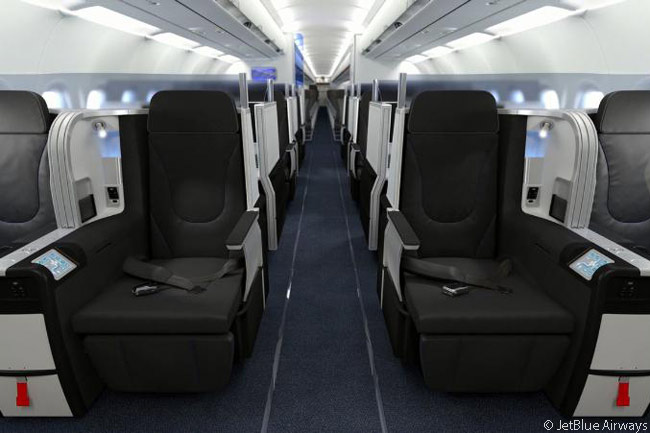 JetBlue Airways' 'Mint' transcontinental premium-class cabin features 16 seats which fold down into fully flat beds 6 feet 8 inches long