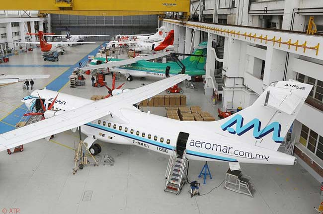 This photograph shows ATR's final assembly line at Toulouse-Blagnac Airport