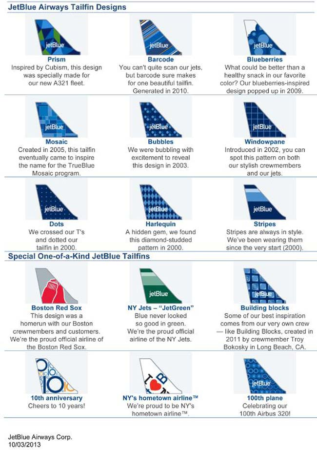 This was the complete line-up of JetBlue Airways' tailfin designs as of October 2013. Since then the airline has added several more
