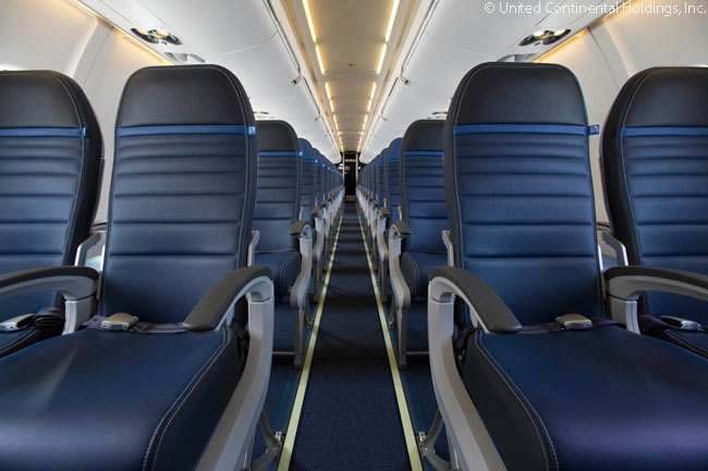 This is United Airlines' latest domestic and regional Economy Plus seat design, as found in a United Express Bombardier CRJ700