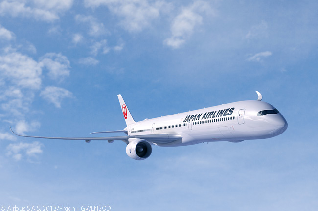 Japan Airlines' first-ever order with Airbus, for a total of 31 A350 XWB twin-engine widebodies plus options on 25 more, included 13 examples of the A350-1000. This is the largest and longest-range A350 XWB version