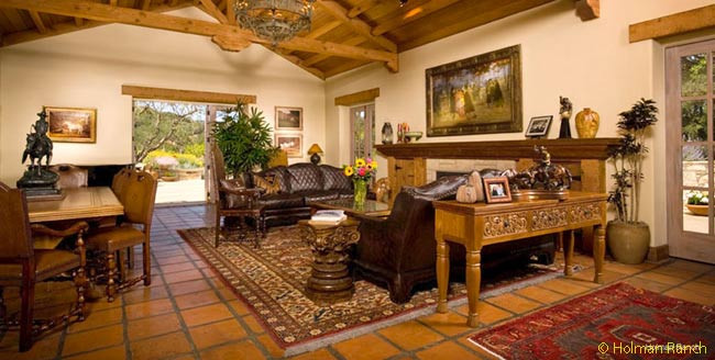 The interiors in Holman Ranch's main hacienda building are plush in their decoration