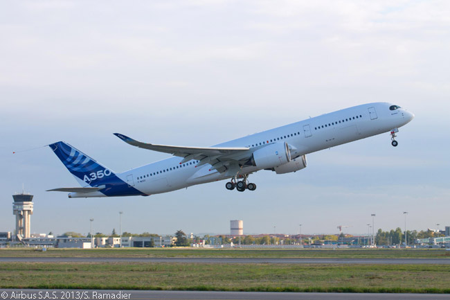 The second Airbus A350 XWB to fly, MSN3, landed back at Toulouse-Blagnac Airport shortly after 2:30 p.m. local time on October 14, 2013, after completing a first flight that lasted approximately five hours