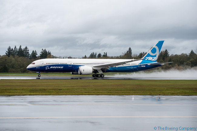 ZB002, the second and last aircraft to join the Boeing 787-9 certification flight-test program, is photographed landing at Boeing Field in Seattle after a 4 hour 18 minute first flight on November 7, 2013