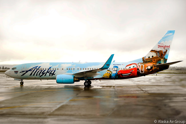 Alaska Airlines showed off a newly painted, Disney-themed aircraft on November 7, 2013. The special livery, painted on a Boeing 737-800 named 'Adventure of Disneyland Resort', made its public debut at Seattle-Tacoma International Airport, Alaska Airlines' main base. The aircraft is the fifth Disney-themed aircraft in Alaska Airlines' fleet