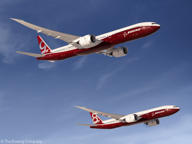 This computer graphic image shows how the Boeing 777-9X (foreground) and the Boeing 777-8X (background) will look