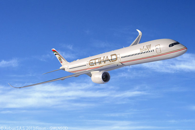On November 17, 2013, during the first day of the Dubai Airshow 2013, Etihad Airways announced a firm order for 50 A350 XWBs, 36 A320neo aircraft and one A330-200F as part of its fleet modernization strategy. The order included 10 A350-1000s. An A350-1000 in Etihad's colors is shown in this computer graphic image