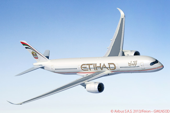 Etihad Airways' order for 87 Airbus single-aisle and twin-aisle jets on November 17, 2013, included an order for 40 A350-900 widebodies