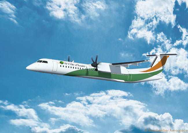 On November 18, 2013, on the second day of the Dubai Airshow 2013, Bombardier Aerospace announced a conditional order from Air Côte d'Ivoire for two Bombardier Q400 NextGen regional turboprops. The airline also took options on two more Q400 NextGens