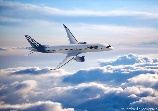 The CS300 is the larger of the two initially planned models in the new Bombardier CSeries family of mainline commercial jets