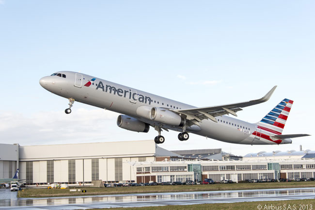 American Airlines took delivery of its first Airbus A321 on November 21, 2013