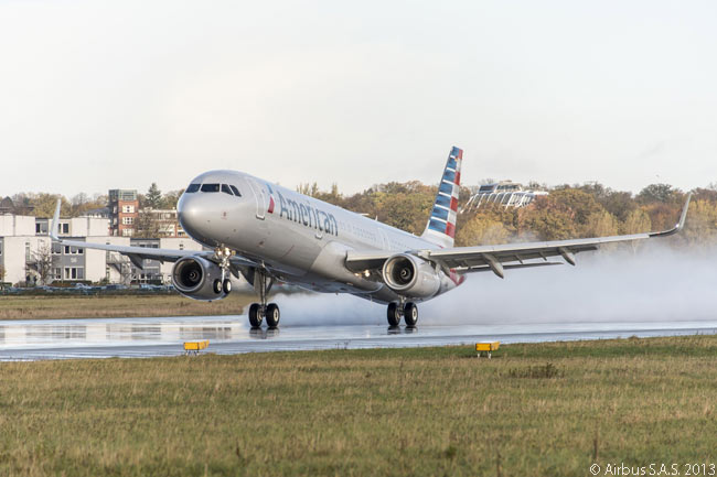 American Airlines' first Airbus A321 lands at Hamburg's Finkenwerder airfield, where Airbus has a final-assembly line for A320-family aircraft, after a pre-delivery test flight