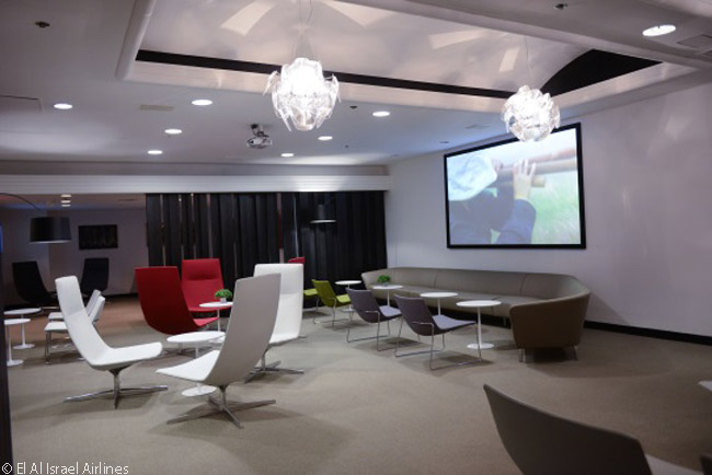 El Al's new 'Art & Lounge' at Newark Liberty International Airport has seating for 90 guests on modern-design couches and chairs in various seating arrangements