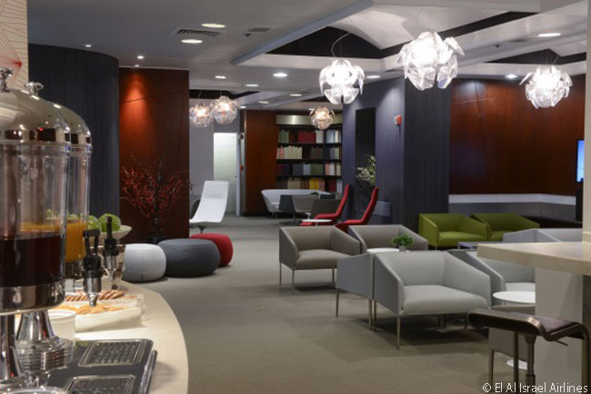 El Al's new 'Art & Lounge' premium-class lounge at Newark Liberty International Airport is designed to serve as a setting for changing exhibitions of contemporary Israeli art and video art