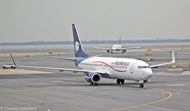 AeroMexico Boeing 737-800 XA-DRB taxis in toward its parking spot at Terminal 1 at New York JFK