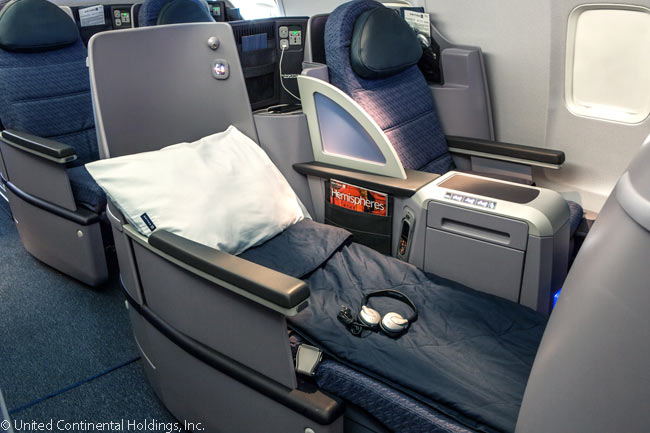 This is a flat-bed seat on one of the Boeing 757s which United Airlines uses to operate its 'p.s.' premium service linking New York JFK with Los Angeles and San Francisco