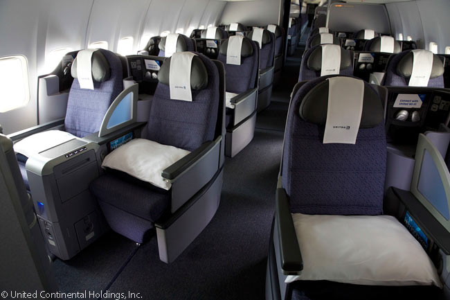This is what the refurbished BusinessFirst cabins look like in the United Airlines Boeing 757s operating the carrier's 'p.s.' transcontinental services