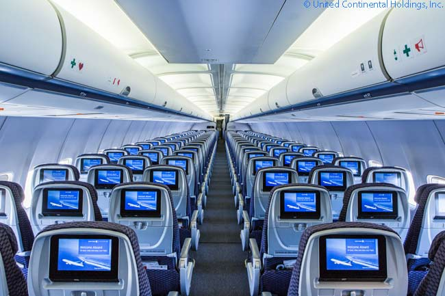 United Airlines has refurbished the interiors of the Boeing 757s which operate its prime transcontinental trunk routes linking New York JFK with Los Angeles and San Francisco. Economy Plus and Economy seats all now have 9-inch seatback monitors for viewing in-flight entertainment programming