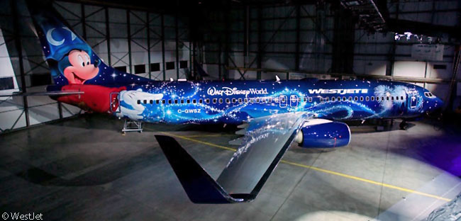 On December 2, 2013, WestJet unveiled a Boeing 737-800 painted in a Disney-themed livery