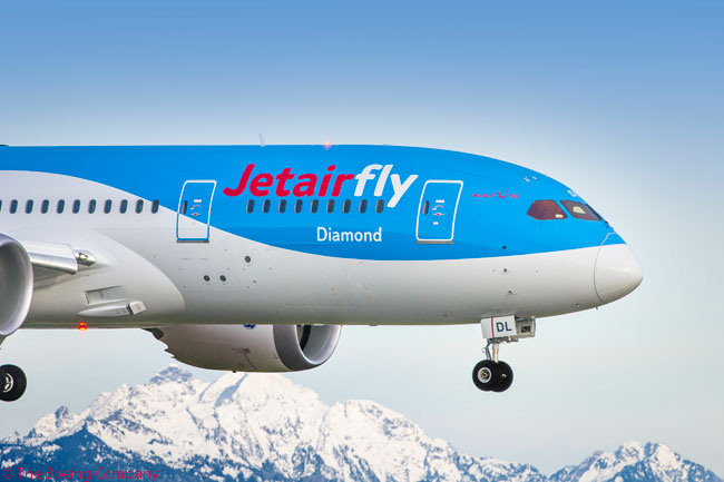 Jetairfly's first Boeing 787, which was delivered to the carrier on December 3, 2013, is seen during one of its pre-delivery production flights