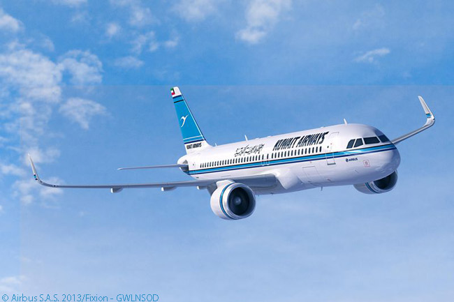 Kuwait Airways signed a memorandum of understanding on December 9, 2013 for an order with Airbus for 10 A350-900s and 15 A320neo-family jets. This computer graphic image shows an A320neo in Kuwait Airways livery