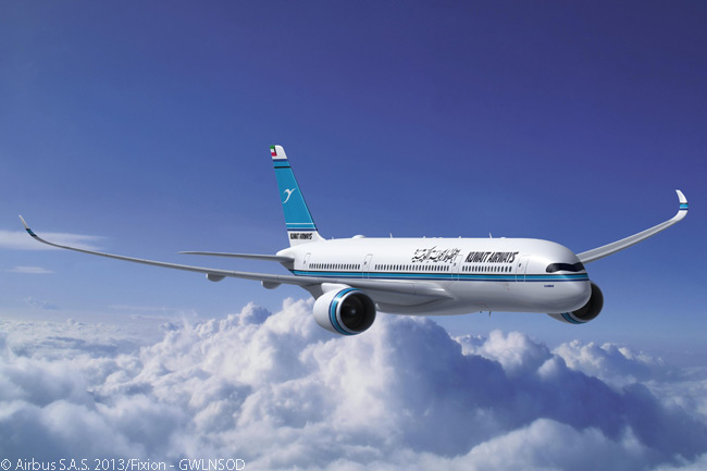 On December 9, 2013, Kuwait Airways signed a memorandum of understanding to order 10 Airbus A350-900 widebodies and 15 Airbus A320neo-family single-aisle jets. This computer graphic image shows an A350-900 in Kuwait Airways colors