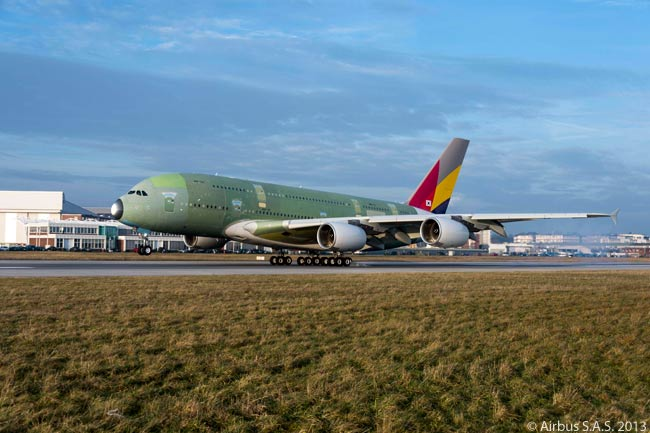 Asiana Airlines' first A380 performed its maiden flight on December 13, 2013. The A380 flew from Airbus' A380 final-assembly line at Toulouse-Blagnac Airport to the aircraft manufacturer's site at Finkenwerder Airfield in Hamburg, where it will undergo painting and cabin furnishing