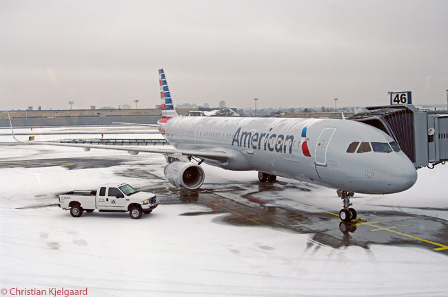 On the snowy day of December 17, 2013, American Airlines' first Airbus A321, registered N101NN, made its first visit to New York JFK. There, at Gate 46 in American's Terminal 8, the airline showed off to employees and media the new aircraft and its 102-seat interior, specially configured for service on American's two prime transcontinental routes linking JFK with Los Angeles and San Francisco