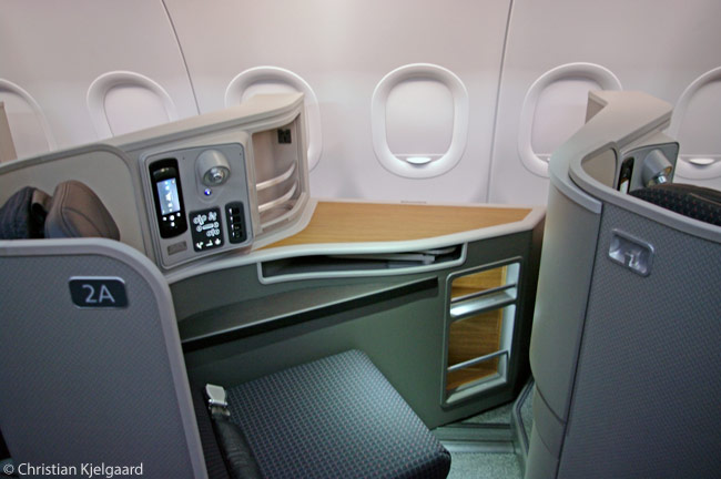"Each of the 17 Airbus A321s American Airlines has specially configured for its two prime, high-yield transcontinental routes has 10 First Class flat-bed seats in individual pods, or ""cubbys"" as some the airline's employees call them"