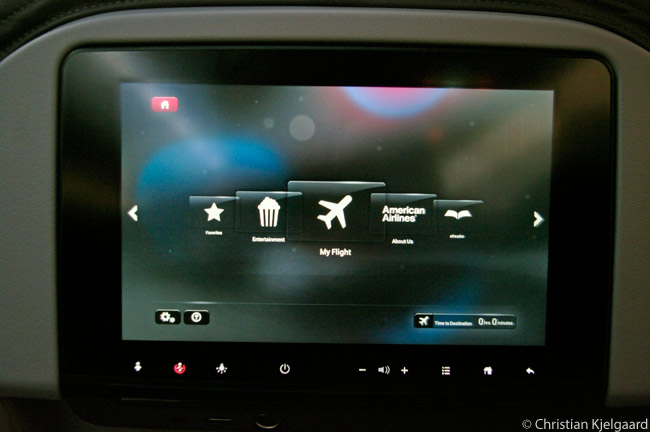 This is one of the 8.9-inch-diameter touchscreen, HD-capable, seatback in-flight entertainment screens that accompanies each of the Main Cabin and Main Cabin Extra seats in American's Airbus A321Ts