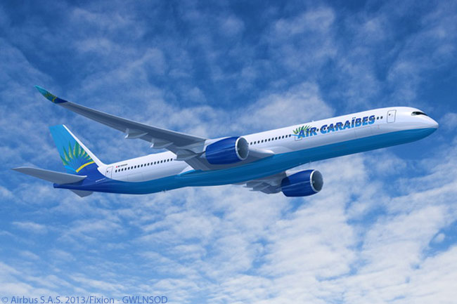 On December 20, 2013, Guadeloupe-based Air Caraïbes ordered three Airbus A350-1000s to add to three A350-900s it had already agreed to lease from ILFC. THis computer graphic image shows an A350-1000 in Air Caraïbes' very attractive livery