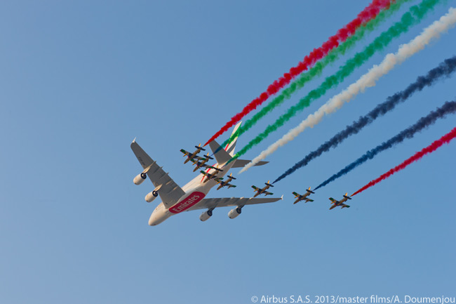 "At the Dubai Airshow in November 2013, a newly delivered Airbus A380 for Emirates Airline performed a flying display with the United Arab Emirates Air Force's aerobatic demonstration team, Al Fursan – which translates to ""The Knights"" in English and operates Aermacchi MB-339NAT jet trainers"