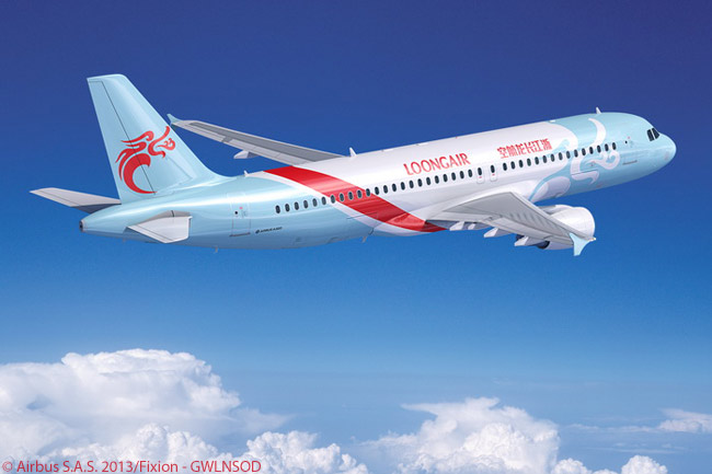 On December 29, 2013, Hangzhou-based Zhejiang Loong Airlines began commercial operations used a leased Airbus A320. The carrier marked its service launch by firming an order for 11 Airbus A320ceo and nine A320neo aircraft. This computer graphic image shows an A320ceo in Zhejiang Loong Airlines' colorful livery