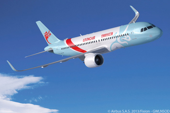 Zhejiang Loong Airlines' first Airbus order, signed on December 29, 2013, included 11 A320 current engine option and nine A320 new engine option jets. This computer graphic image of an A320neo in Zhejiang Loong Airlines colors shows that the carrier uses 'Loongair' as an operating name