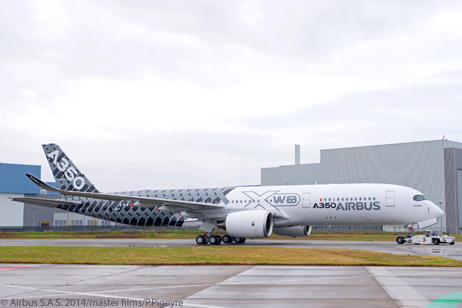 On January 2, 2014, Airbus rolled out the third flight-test A350 XWB from the paint shop. The aircraft, which Airbus has designated MSN2, was painted in a special 'Carbon' livery to reflect its primary construction from carbon-fiber composite, non-metal materials