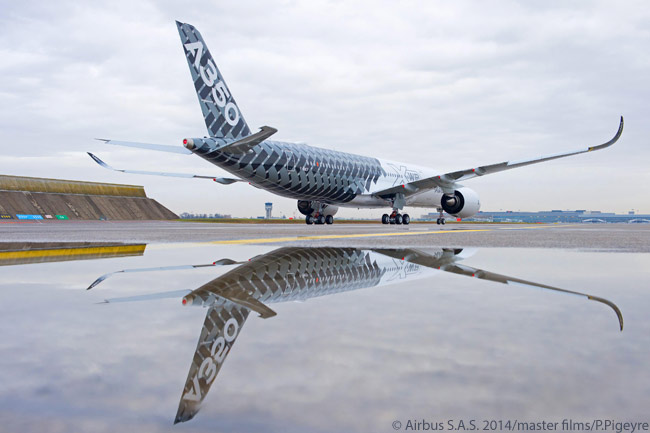Painted in a special 'Carbon' livery, Airbus' third flight-test A350-900 was the first of two flight-test A350 XWBs to be outfitted with a full  passenger-cabin interior