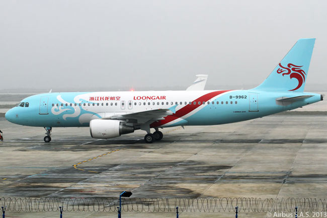 On December 29, 2013, Hangzhou-based Zhejiang Loong Airlines operated its first commercial service, using a leased Airbus A320. The airline has a stylish and colorful livery, as seen in this photograph