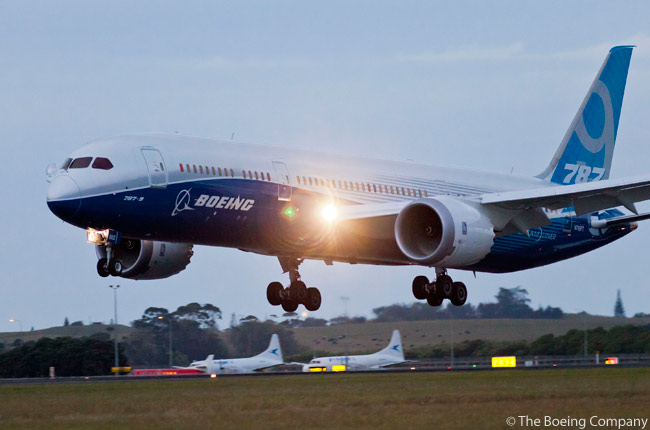 On January 3, 2013, Boeing flew its third flight-test 787-9 non-stop from Boeing Field in Seattle to Auckland Airport, home of 787-9 launch customer Air New Zealand. The 13 hour, 49 minute flight took off at 9:55 a.m. local time and landed at Auckland at 8:45 p.m. on January 4, local time. This photograph shows the aircraft landing at Auckland