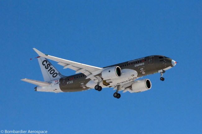 The second flight-test Bombardier CS100, which Bombardier has designated as 'FTV2', performed its first flight on January 3, 2014, some two-and-a-half months after the first flight-test CS100 had made its maiden flight